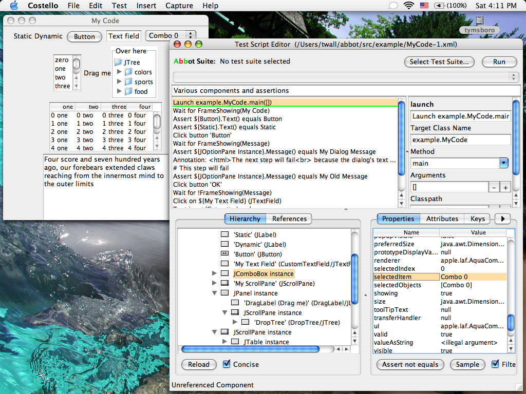 Abbot framework for automated testing of Java GUI components